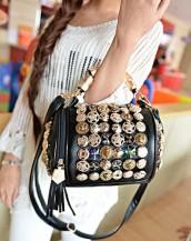 düğme süslü tasarım silindir siyah el çantası sk5898