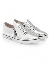 gümüş çift fermuarlı rugan sneaker sk6480
