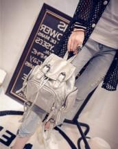 gümüş deri küçük sırt çantası sk5838