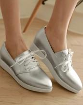 gümüş gizli topuklu bağcıklı deri ayakkabı sk5661