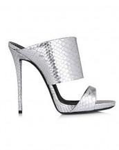 gümüş yılan derisi kalın bantlı rugan sandalet sk6588