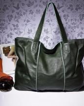 hakiki deri koyu yeşil tote kol çantası sk7919