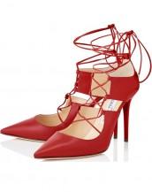 kırmızı ince bantlı bağcıklı rugan stiletto sk6178