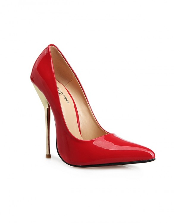 kırmızı metal topuklu rugan stiletto sk6414