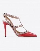kırımızı zımba bantlı topuklu sandalet sk6269