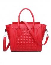 kırmızı zımbalı deri kol çantası sk6766