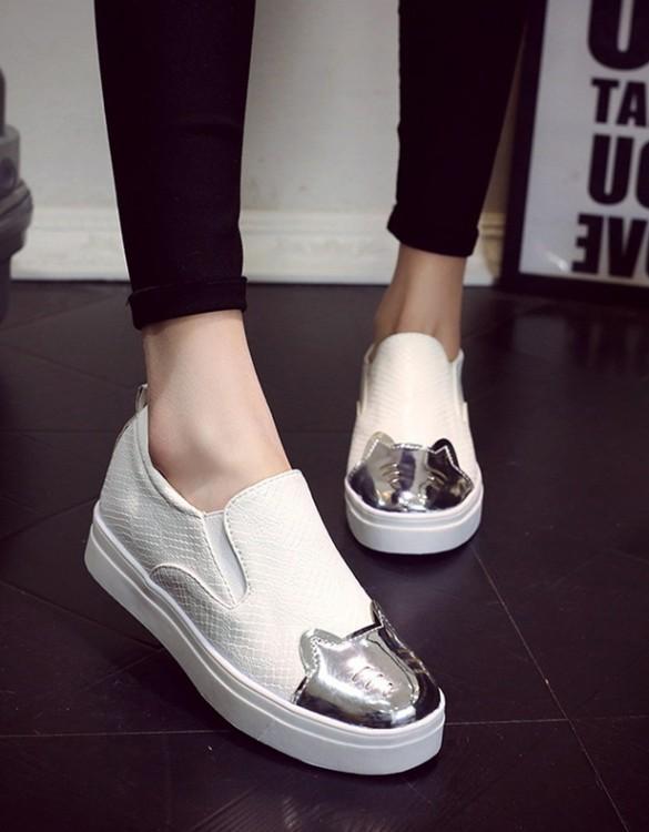 kabartma deri beyaz yazlık ayakkabı sk7856