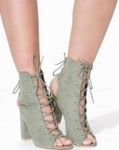 kare topuk çift bağcıklı haki yeşil sandalet sk8162