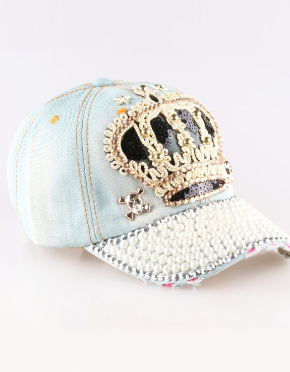 kraliçe tacı boncuk süslemeli buz mavisi tarz şapka sk8085