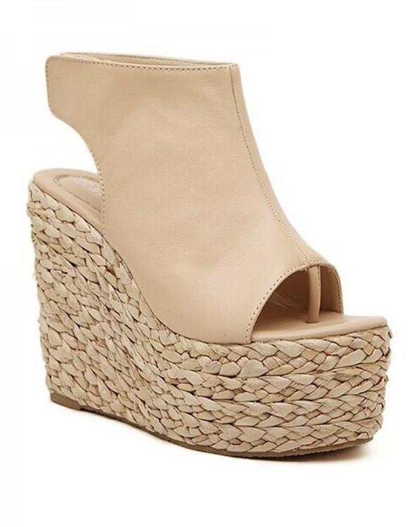 krem hasır topuk deri sandalet sk7261