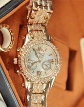 kristal lüks taşlı altın kol saati sk7987