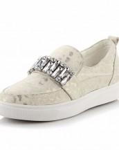 leopar detaylı krem taşlı ayakkabı sk7780