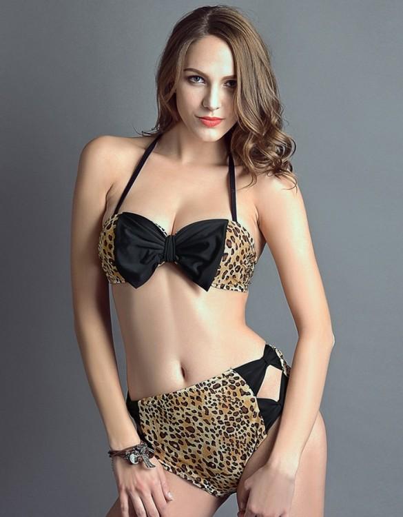 leopar siyah kurdeleli yüksek bel bikini sk6118