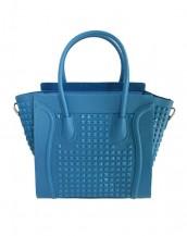 mavi zımbalı deri kol çantası sk6766