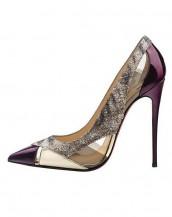 mor yüksek topuklu rugan sandalet sk6258