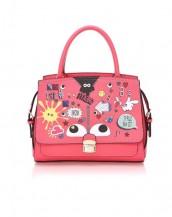 pembe karikatür baskılı kol çantası sk6224