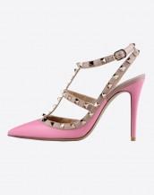 pembe zımba bantlı topuklu sandalet sk6269