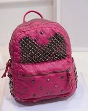 pembe zımbalı deri sırt çantası sk7050