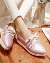 pudra gizli topuklu bağcıklı deri ayakkabı sk5661