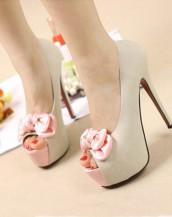 pudra papyonlu platform yüksek topuklu ayakkabı sk5694