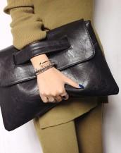 siyah çıtçıtlı deri el omuz çantası sk6531