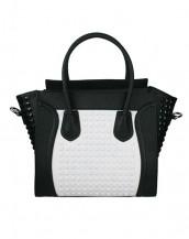 siyah beyaz zımbalı deri kol çantası sk6766