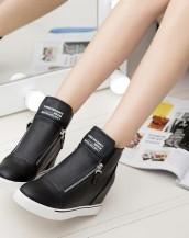 siyah gizli topuk çift fermuarlı sneaker sk5708
