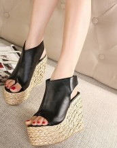 siyah hasır topuk deri sandalet sk7261