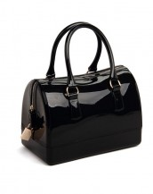 siyah metal fermuarlı pvc silikon çanta sk6875