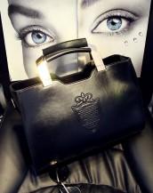 siyah metal saplı deri çanta sk6339