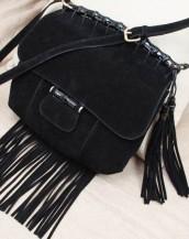 siyah püsküllü süet küçük omuz çantası sk6722