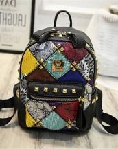 siyah renkli zımbalı deri sırt çantası sk7217