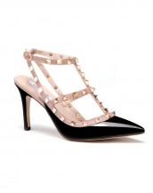 siyah zımba bantlı topuklu sandalet sk6269