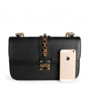 siyah zımba detaylı zincirli çanta sk6368