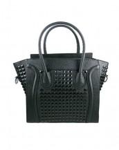 siyah zımbalı deri kol çantası sk6766
