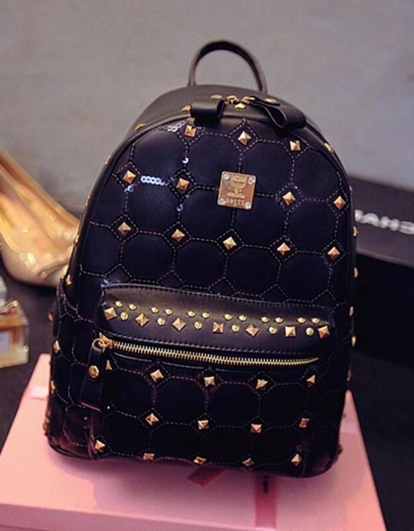 siyah zımbalı deri sırt çantası sk5768