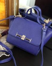 trapeze mavi deri kol çantası sk7472