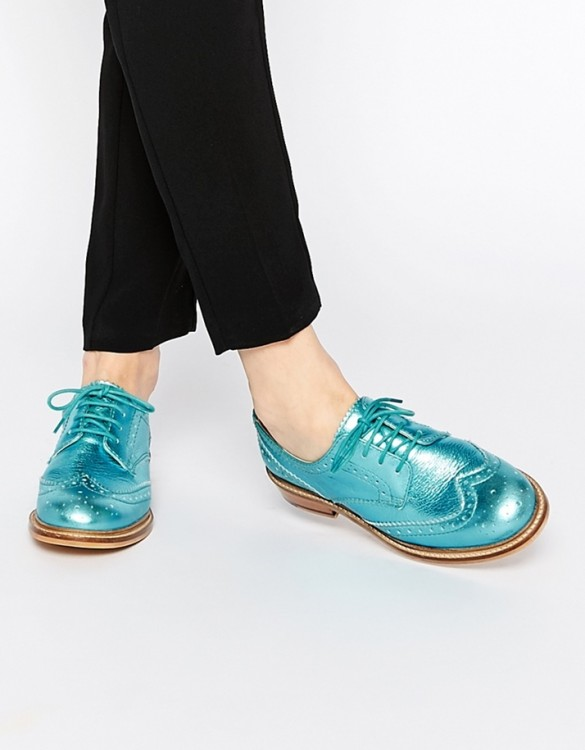 turkuaz mavi rugan deri oxford ayakkabı sk7705