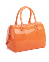 turuncu metal fermuarlı pvc silikon çanta sk6875