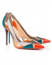turunucu yüksek topuklu rugan sandalet sk6258