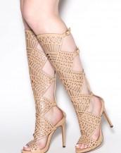 uzun topuklu gladyatör bej sandalet sk8127