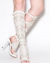 uzun topuklu gladyatör beyaz sandalet sk8127