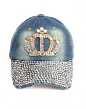 zımbalı taşlı lacivert kraliçe kot şapka sk8057