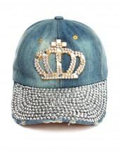 zımbalı taşlı mavi kraliçe kot şapka sk8057