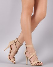 çapraz bantlı bej topuklu sandalet sk8743