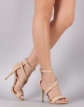 çapraz bantlı tokalı bej topuklu sandalet sk8632