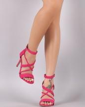 çapraz bantlı tokalı fuşya topuklu sandalet sk8632