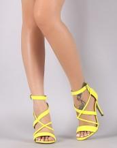 çapraz bantlı tokalı sarı topuklu sandalet sk8632