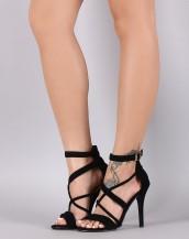 çapraz bantlı tokalı siyah topuklu sandalet sk8632