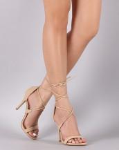 çapraz ipli bej topuklu ayakkabı sandalet sk8615